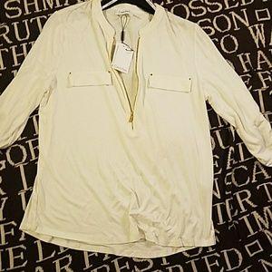 Calvin Klein zipper down blouse pockets cream M